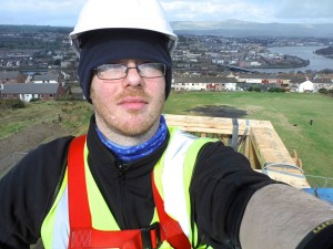 me at top of temple in cherry picker